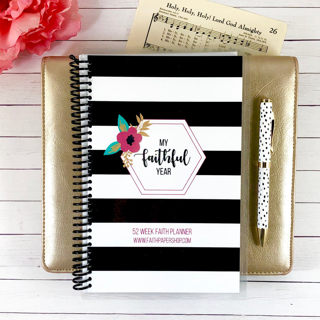 faith planner with stripe floral cover
