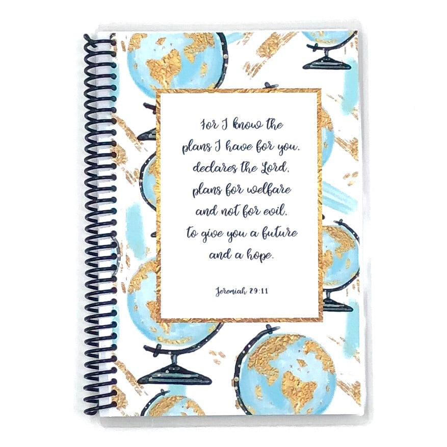 Custom Christian Journal - Watercolor Globes
