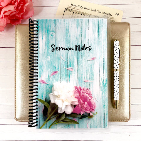 Sermon Notes Journal - Aqua Peony