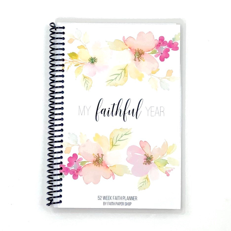 womens faith planner with watercolor flowers