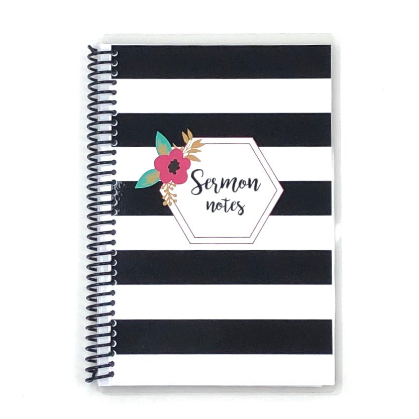 Sermon Notes Journal - Striped Floral
