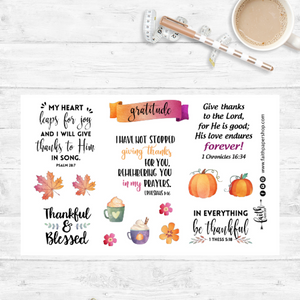 thankful and grateful scripture stickers.  faith paper shop