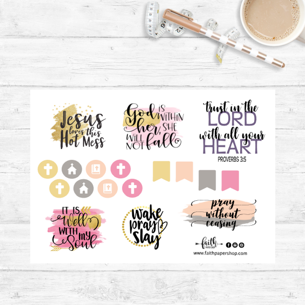 watercolor bible verse planner stickers.  faith paper shop