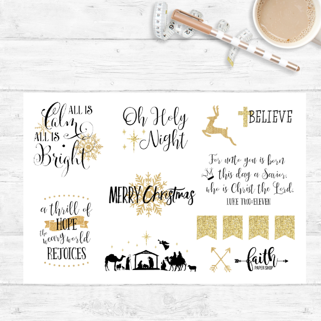 Christmas Stickers - Gold Glitter - Faith Paper Shop