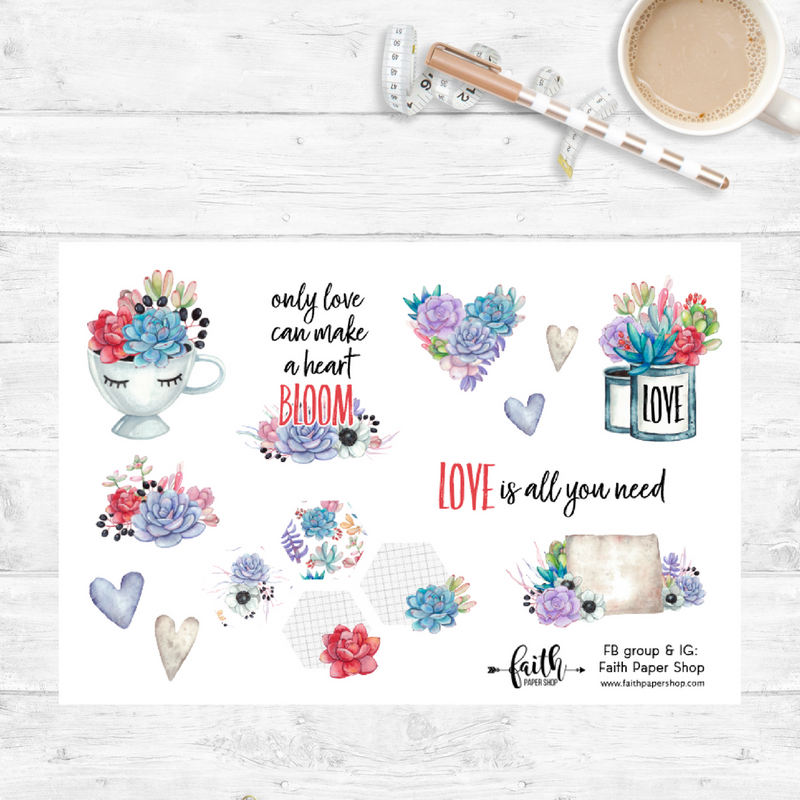 Cactus Bloom - Scripture Stickers - Faith Paper Shop