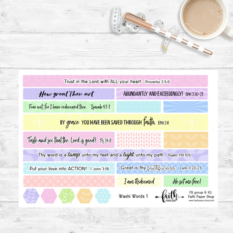 Washi Words - Scripture Stickers - Pastels - Faith Paper Shop