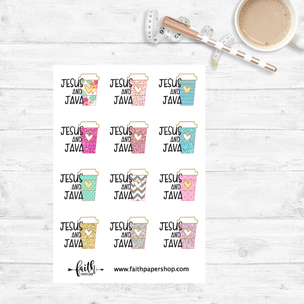 Jesus and Java Stickers - Planner Basics - Faith Paper Shop