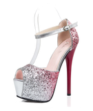 Womens Sparkly Gradient Pump Heels