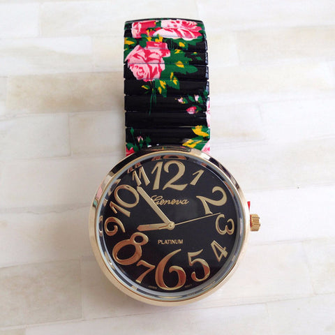 Trendy Floral Print Band Big Face Watch
