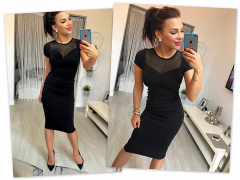 Beautiful Black Mesh Top Slim Party Dress