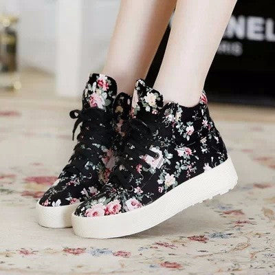 Beautiful Floral Print High Top Sneakers