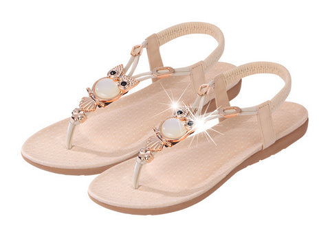 Beautiful Jewel T-Strap Casual Sandals
