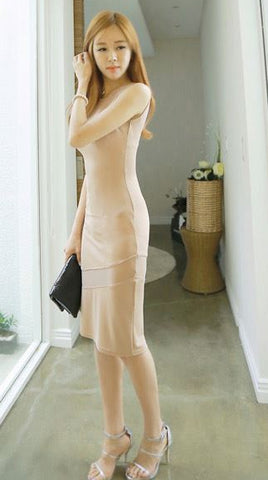Beautiful Mesh Stitch Slim O-Neck Dress
