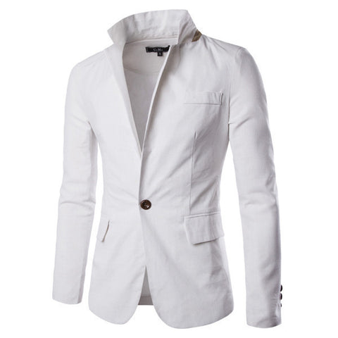 Mens Casual Slim One Button Blazer