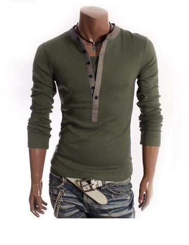 Mens Casual Half Buttoned Long Sleeve Shirt