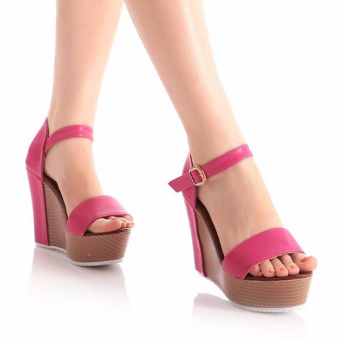 Beautiful Casual Platform Ankle Strap Wedges