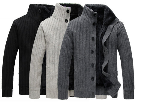 Mens Casual Turtleneck Button-Up Sweater