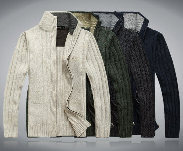 Mens Comfortable Casual Zip-Up Sweater