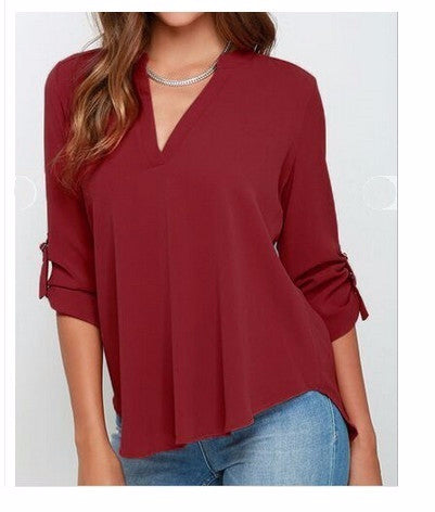 Cool Casual Chiffon Plus Size Shirt
