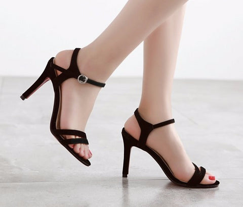 Cool Cute Black Strap Buckle Design Heels