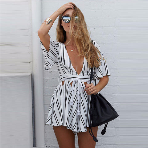 Beautiful Deep-V Trendy Design Stripe Summer Jumpsuit