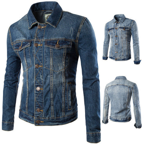 Mens Slim Long Sleeve Denim Jacket