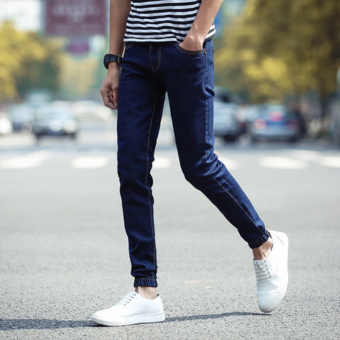 Mens Casual Elastic Ankle Jeans