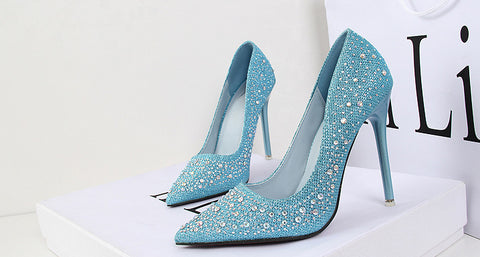 Elegant Diamond Trendy Point Toe High Heels