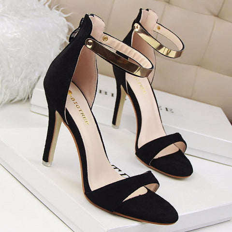 Elegant Gold Ankle Strap Sandal Style Dress Heels