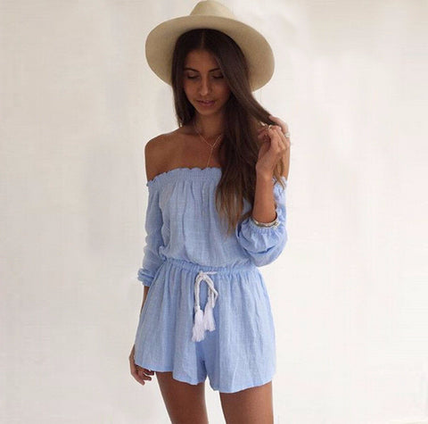 Cute Stylish Blue Over Shoulder Jumpsuit
