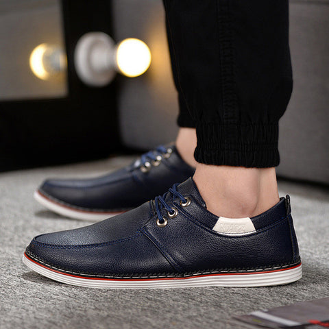 Mens Casual Faux Leather Slip-On Canvas Shoes