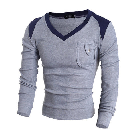 Mens Trendy Long Sleeve V-Neck Shirt