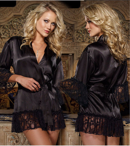 Lovely Black Lace Sexy Dress Robe Lingerie