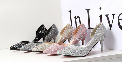 Lovely Diamond Point Toe Stylish Low Heels