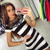 Lovely Elegant Neck Stripe Slim Stylish Dress
