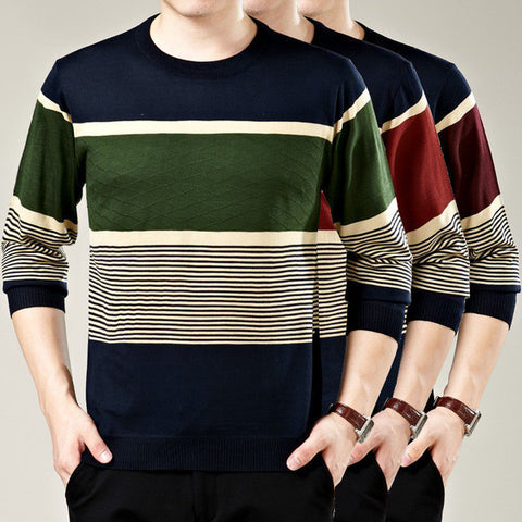 Mens Casual Multi Patterned Pullover Sweater