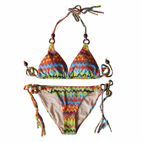 Beautiful Multicolor Design Print Swimsuit Bikini