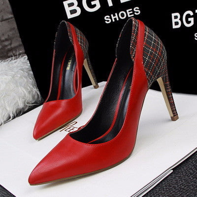 Cool Casual Plaid Point Toe Stylish Heels