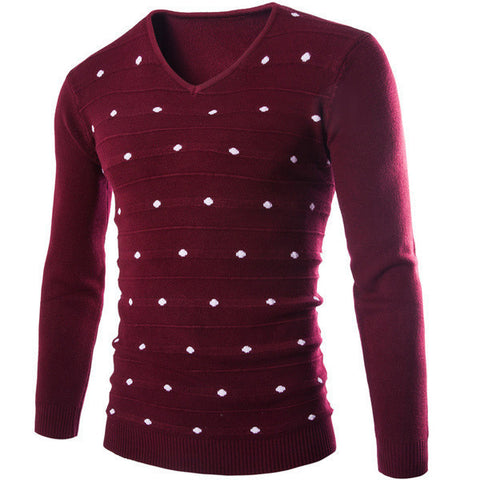 Mens Scattered Polka Dot Sweater Hello Fashion Co