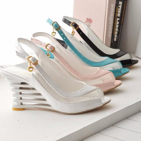 Urban Trendy Slingback Unique Peep Toe Wedges