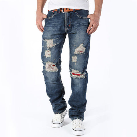 Mens Straight Ripped Jeans