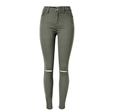 Stylish Simple Slim Ripped Skinny Jeans