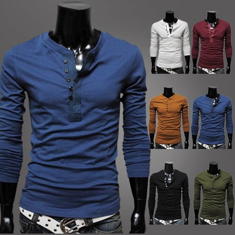 Mens Stylish Casual Half Button Long Sleeve Shirt