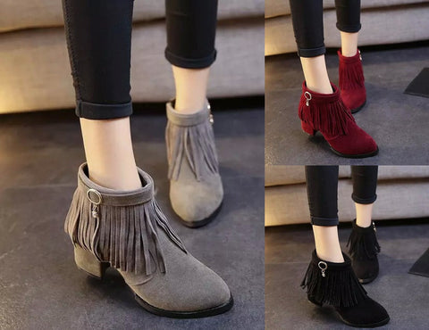 Womens Stylish Fringe Ankle Heel Trendy Boots
