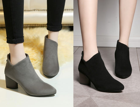 Womens Sleek Stylish Ankle Zip Heel Boots