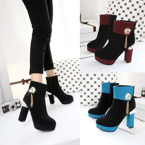 Womens Sleek Ankle Platform Bootie Heels