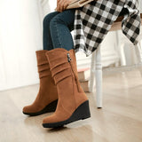 Womens Stylish High Wedge Heel Boots