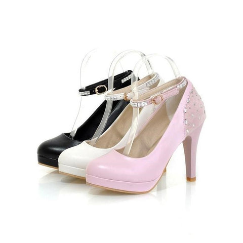 Womens Fashionable Jewel Strap Platform High Heels