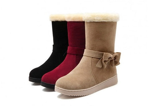 Womens Charming Bow Warm Winter Boots
