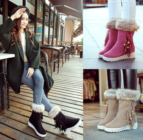 Womens Fun Casual Winter Fur Boots